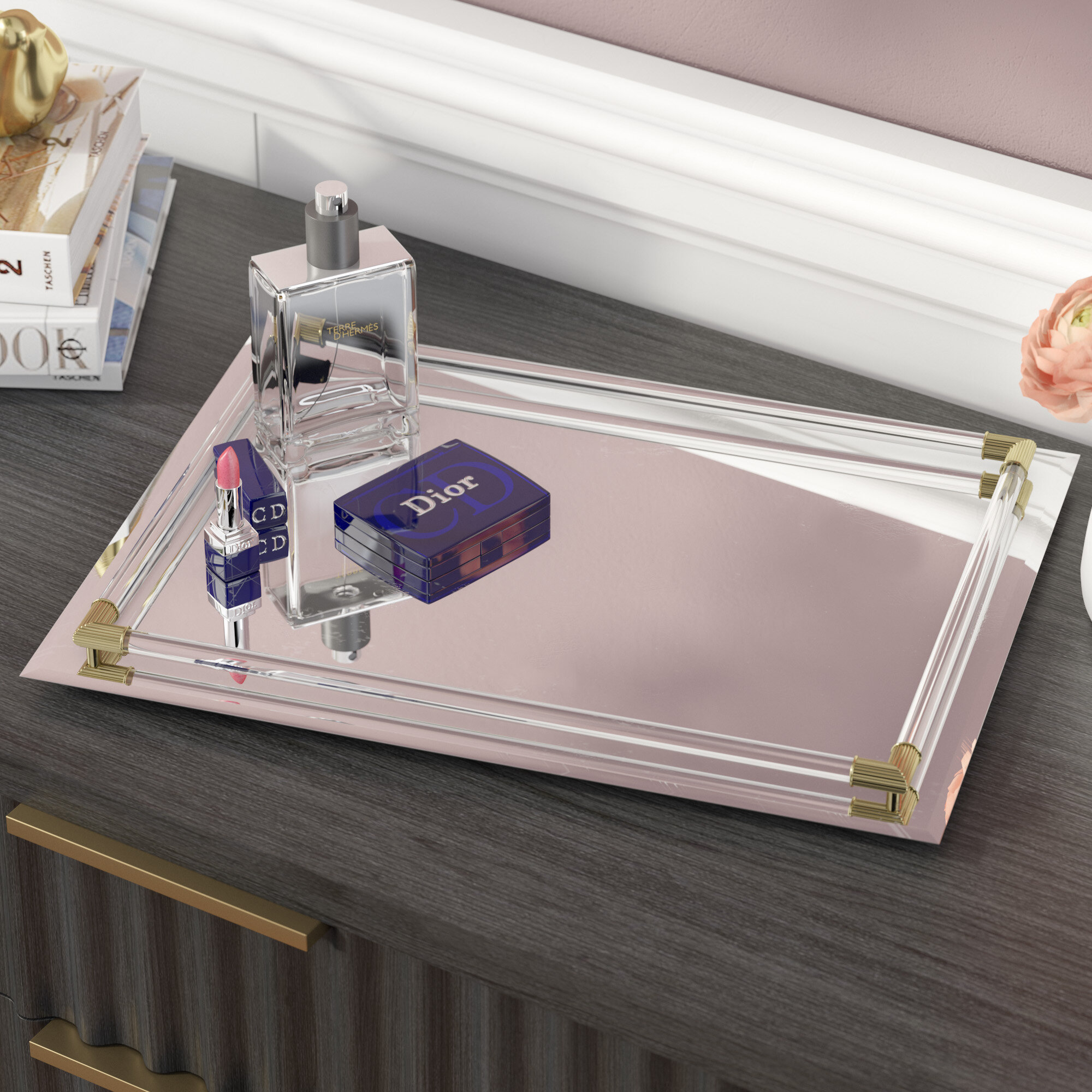 Willa Arlo Interiors Mirrored Vanity Tray Reviews Wayfair