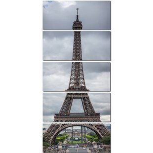 Charmant Grayscale Eiffel Tower 5 Piece Wall Art On Wrapped Canvas Set