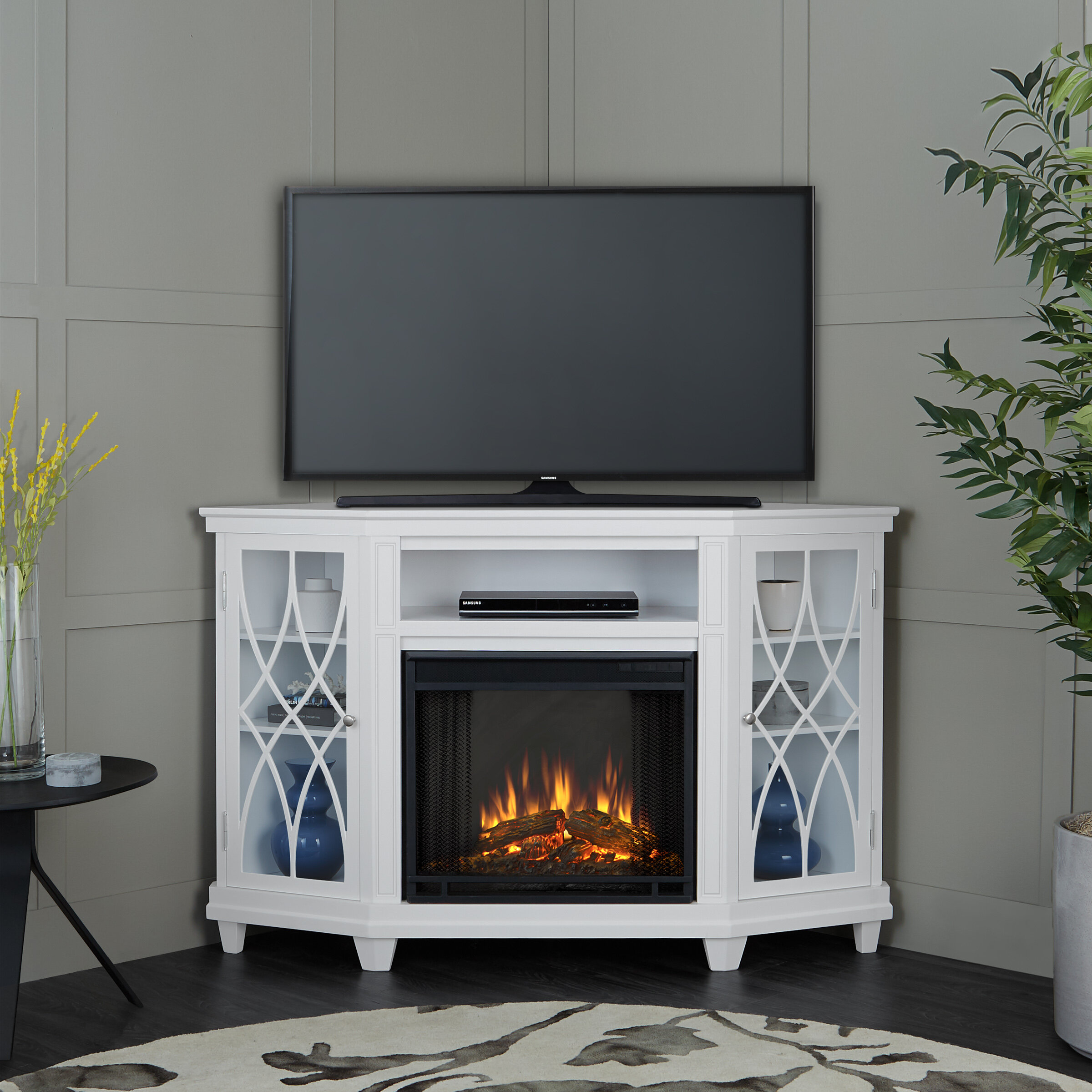 Real Flame Lynette Tv Stand For Tvs Up To 55 With Fireplace