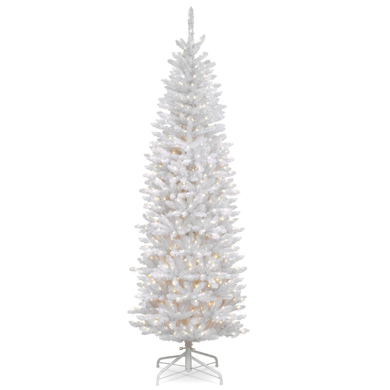 kingswood hinged pencil white fir artificial christmas tree with clear lights with stand - Christmas Tree With Lights