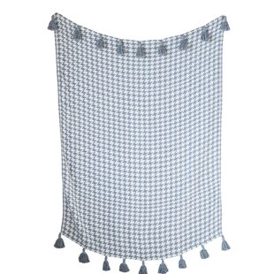 Jayapura Houndstooth Woven with Tassels Cotton Blanket by Bungalow Rose