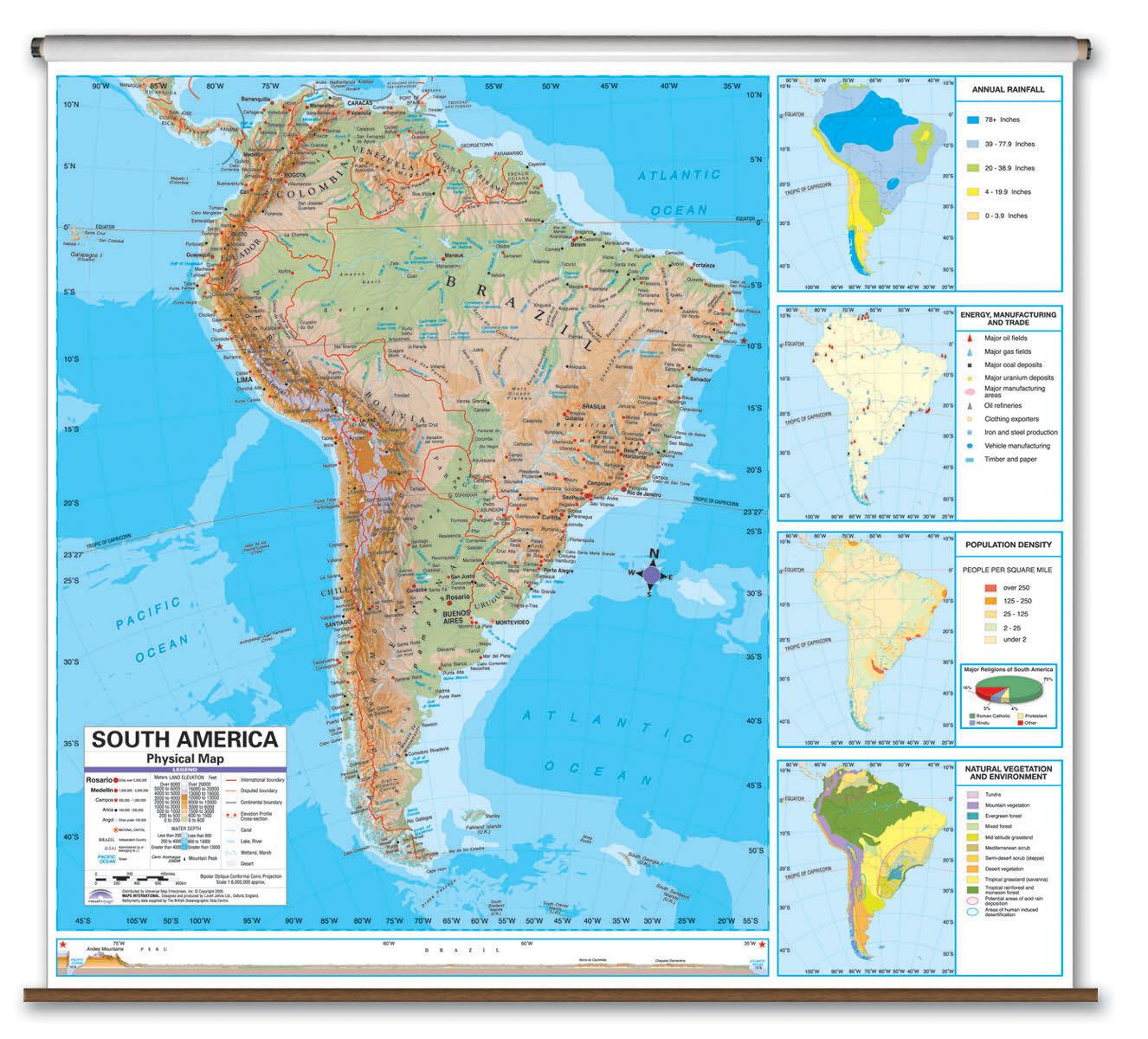 Universal Map Advanced Physical Map - North America   Wayfair