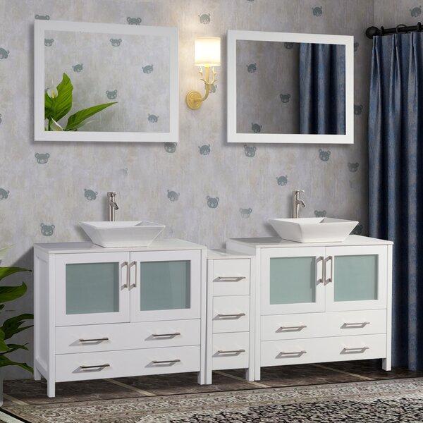 Wade Logan Karson Wooden 84 Quot Double Bathroom Vanity Set