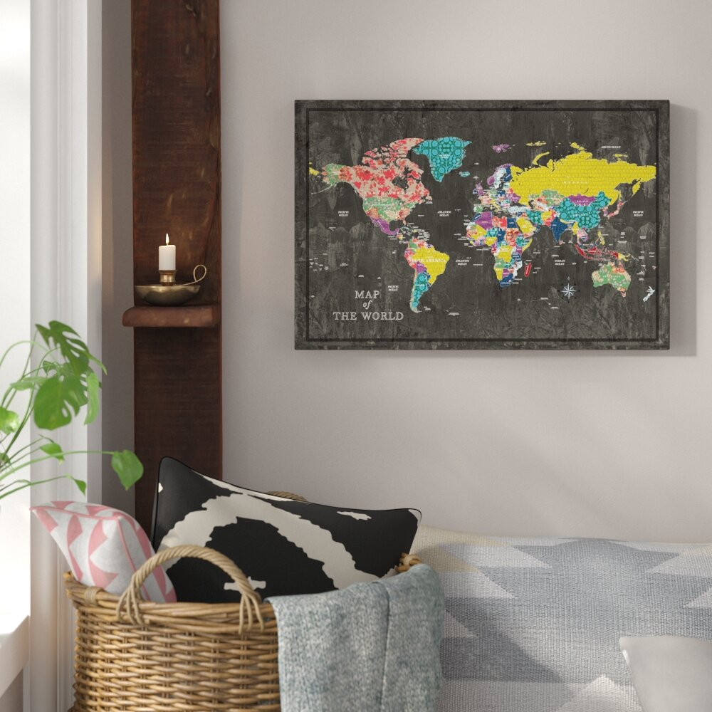 Bungalow rose colorful world map graphic art print on canvas bungalow rose colorful world map graphic art print on canvas reviews wayfair gumiabroncs Gallery