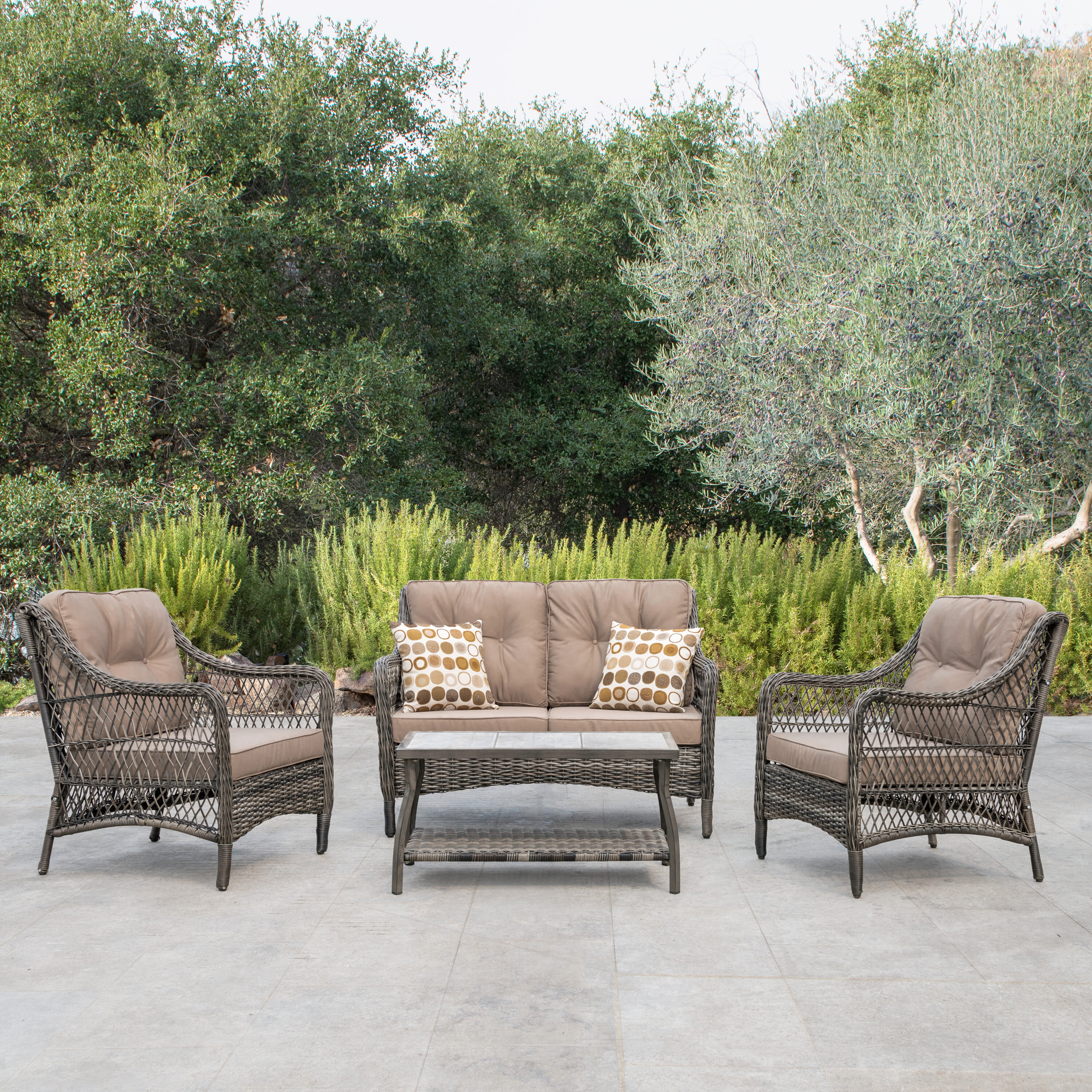 Bay Isle Home Pelletier 5 Piece Rattan Sofa Seating Group With Cushions Reviews Wayfair