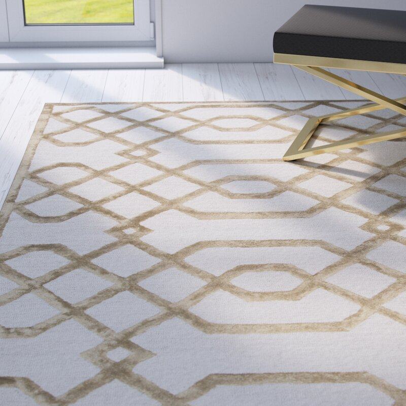 Mercer41 Fabian Geometric Hand Tufted Wool Cream Area Rug