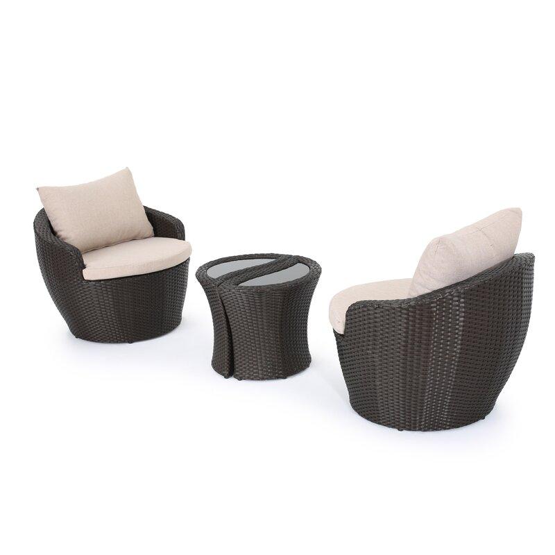 Zipcode Design  Cherita 3 Piece Conversation Set with Cushions