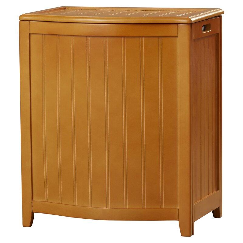 Flip Lid Wood Cabinet Laundry Hamper