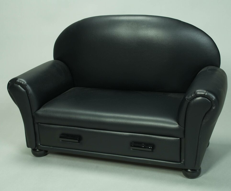 Upholstered Chaise Lounge Kids Faux Leather Club Chair with Storage Compartment