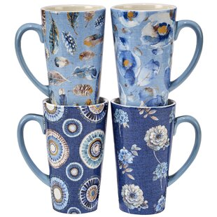 Indigold 16 Oz. 4 Piece Latte Mug Set