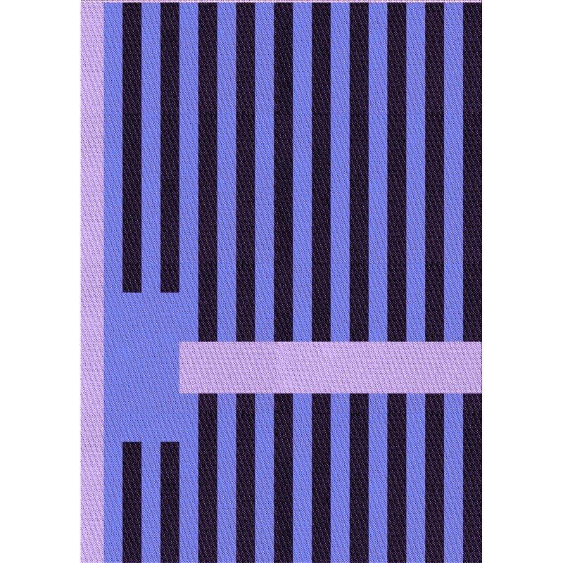East Urban Home Striped Wool Purple Black Area Rug Wayfair
