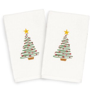 Beam Tree Embroidered Luxury 100% Turkish Cotton Hand Towel (Set of 2)
