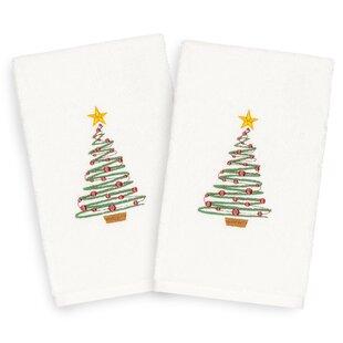 Beam Tree Embroidered Luxury 100% Turkish Cotton Hand Towel (Set of 2)