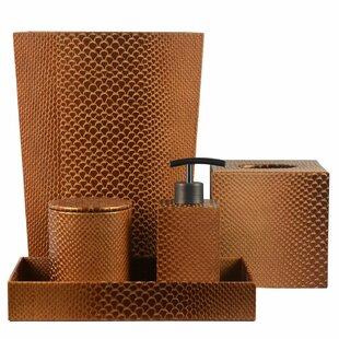 Compare prices Bevis Genuine Leather 5 Piece Bathroom Accessory Set ByTrent Austin Design