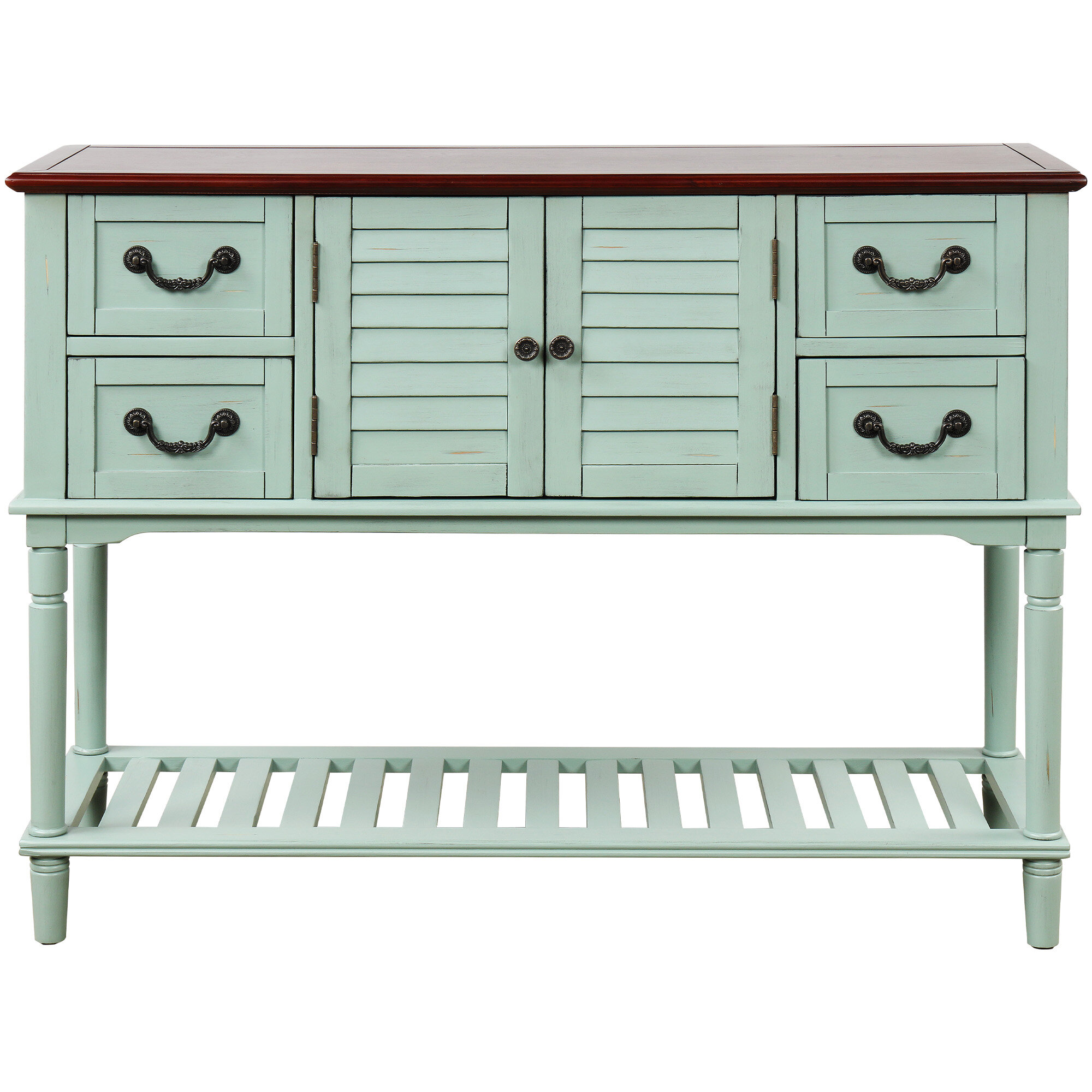 Picture of: Longshore Tides Console Table Sideboard For Entryway Sofa Table With Shutter Doors And 4 Storage Drawers Antique Navy Wayfair Ca