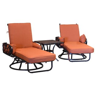 Pineville Swivel Sun Lounger Set with Cushion and Table