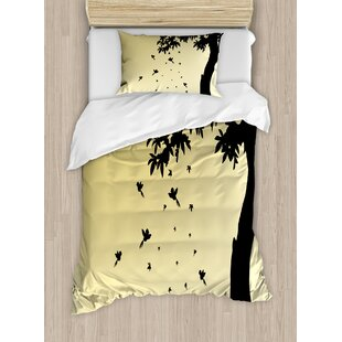 Apartment Autumn Theme Silhouette of a Tree with Falling Leaves and Birds Pattern Duvet Set by Ambesonne