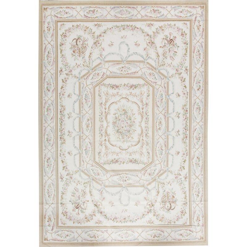 Bokara Rug Co Inc Aubusson Oriental Hand Knotted Wool Ivory Area Rug Wayfair