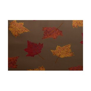 Agatha Flower Print Brown Indoor/Outdoor Area Rug
