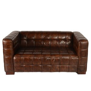 Nautical Leather Chesterfield Loveseat by La..