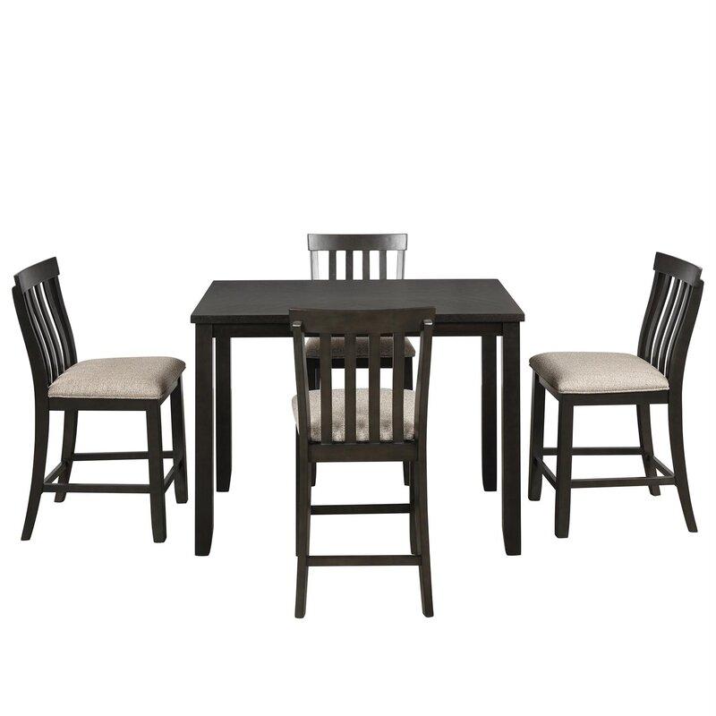 White Cane Outdoor Furniture, Red Barrel Studio Gethin 5 Piece Counter Height Dining Set Wayfair