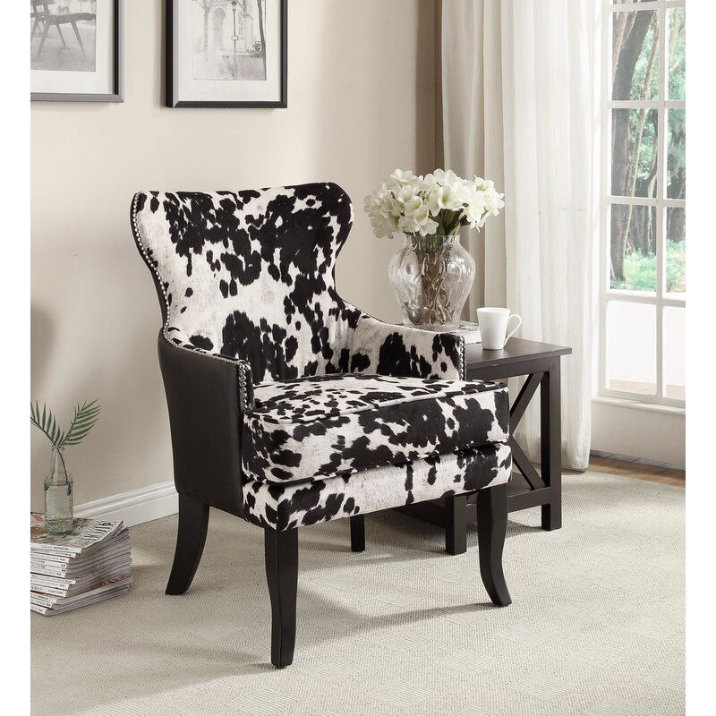 Delicieux Faux Cowhide Accent Wingback Chair