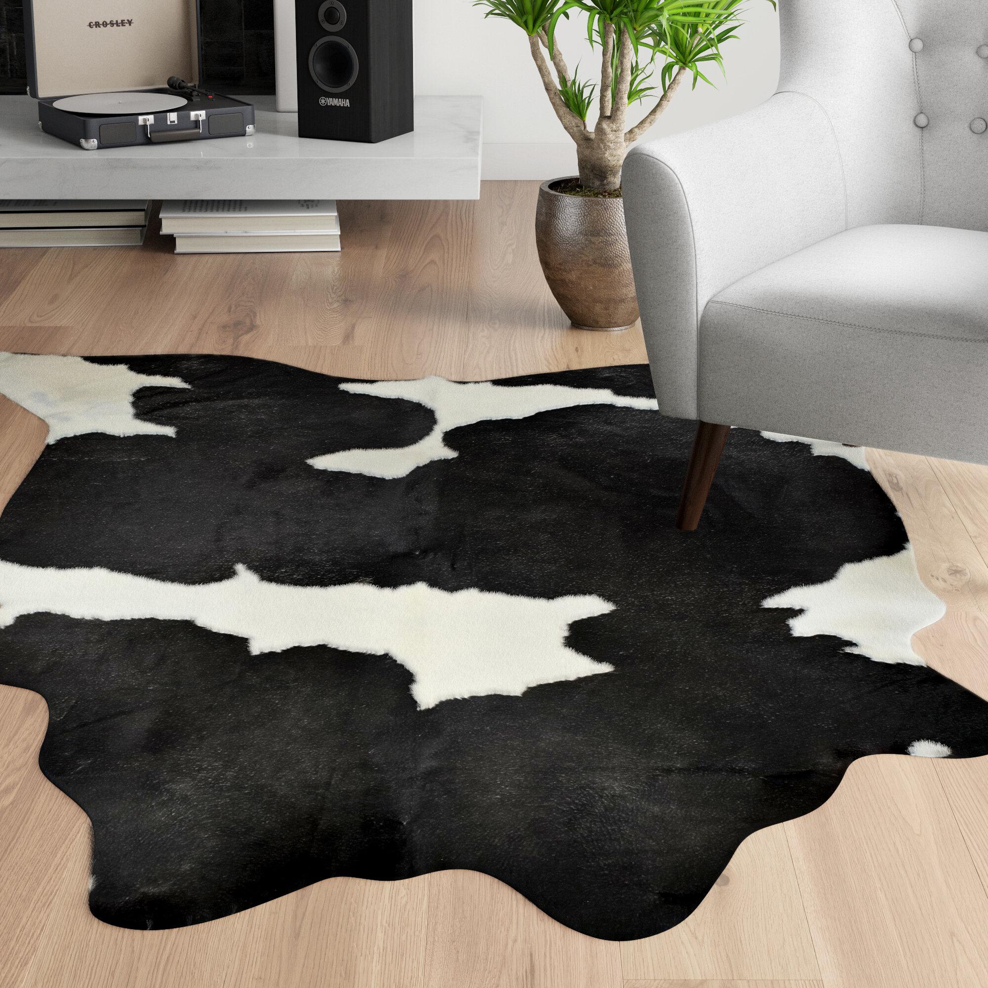 Bert Handmade Cowhide Black White Area