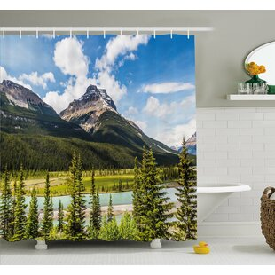 Canadian Cliffs High Tops and Ranges in Spring Day Panorama Image Shower Curtain Set