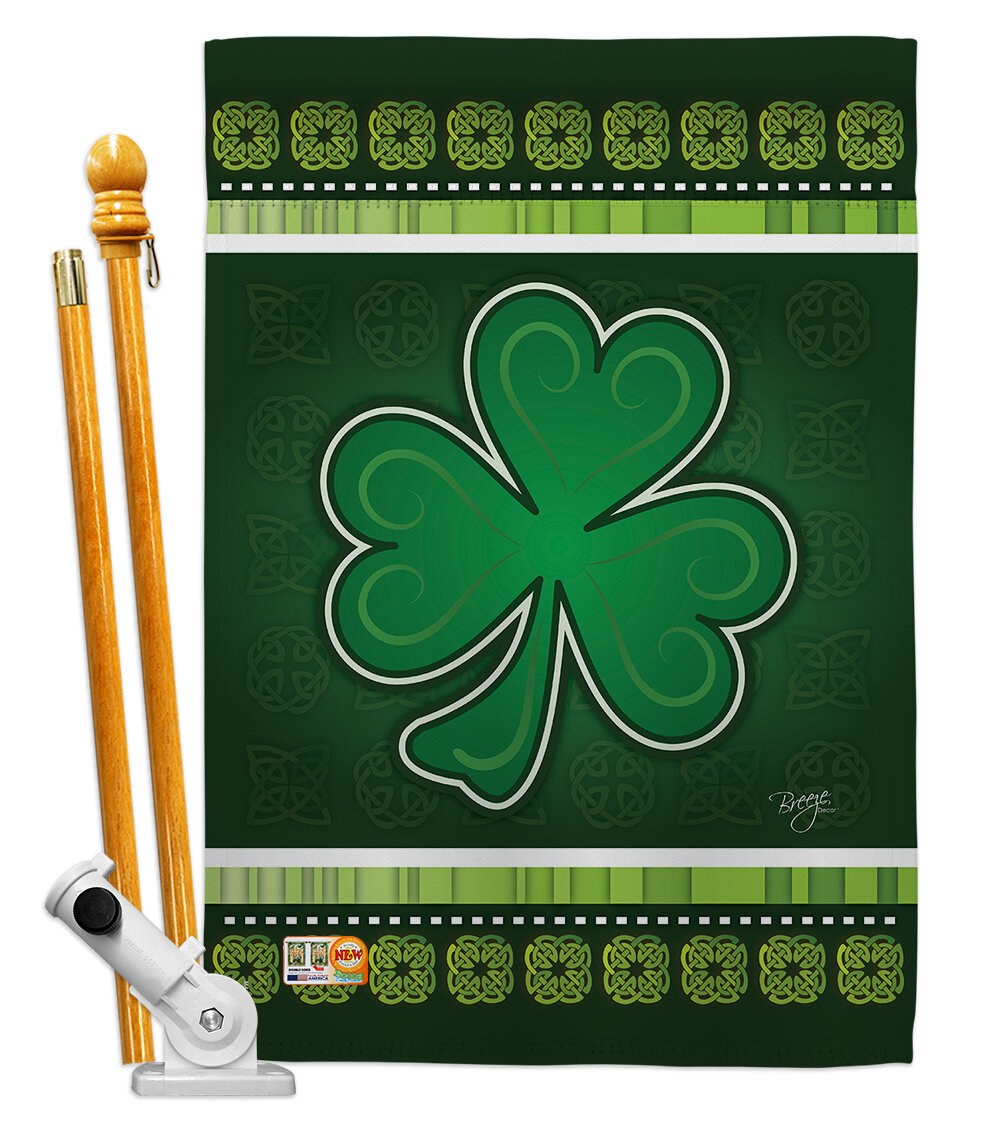 Breeze Decor Shamrock Spring St Patrick 2 Sided Polyester 40 X 28 In Flag Set Wayfair