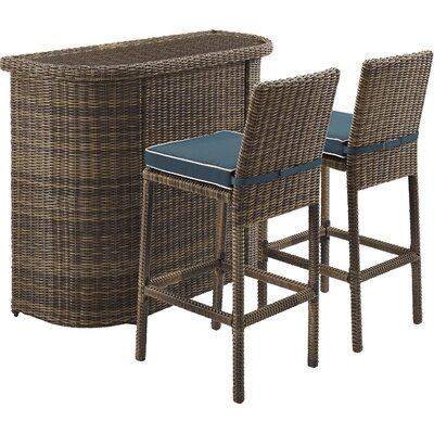 Dardel 3 Piece Bar Height Dining Set Color: Navy by Beachcrest Home