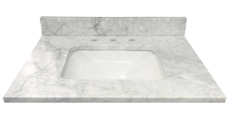 Tile Top Bianco Carrara Marble 31 Single Bathroom Vanity Top Wayfair