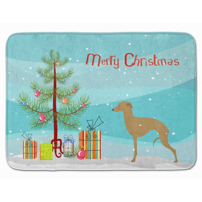 Merry Christmas In Italian.Italian Greyhound Merry Christmas Tree Memory Foam Bath Rug