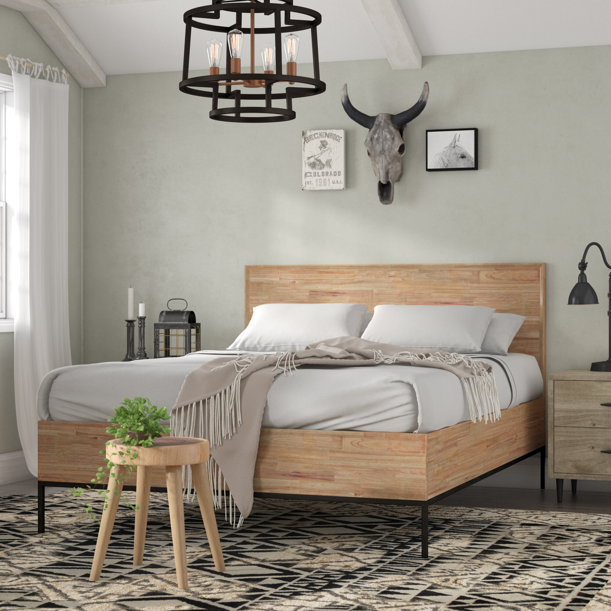 Union Rustic Stallings Queen Platform Bed Wayfair