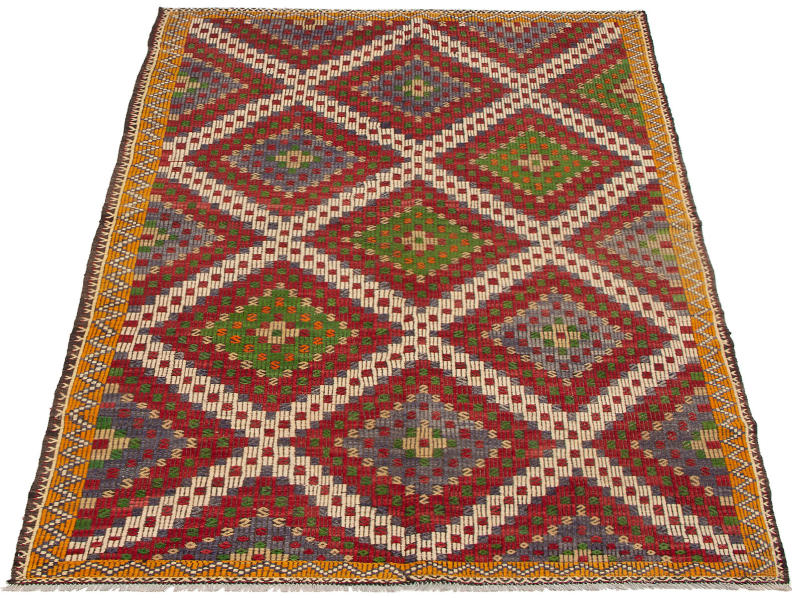 Wool Brown Green Purple Area Rug