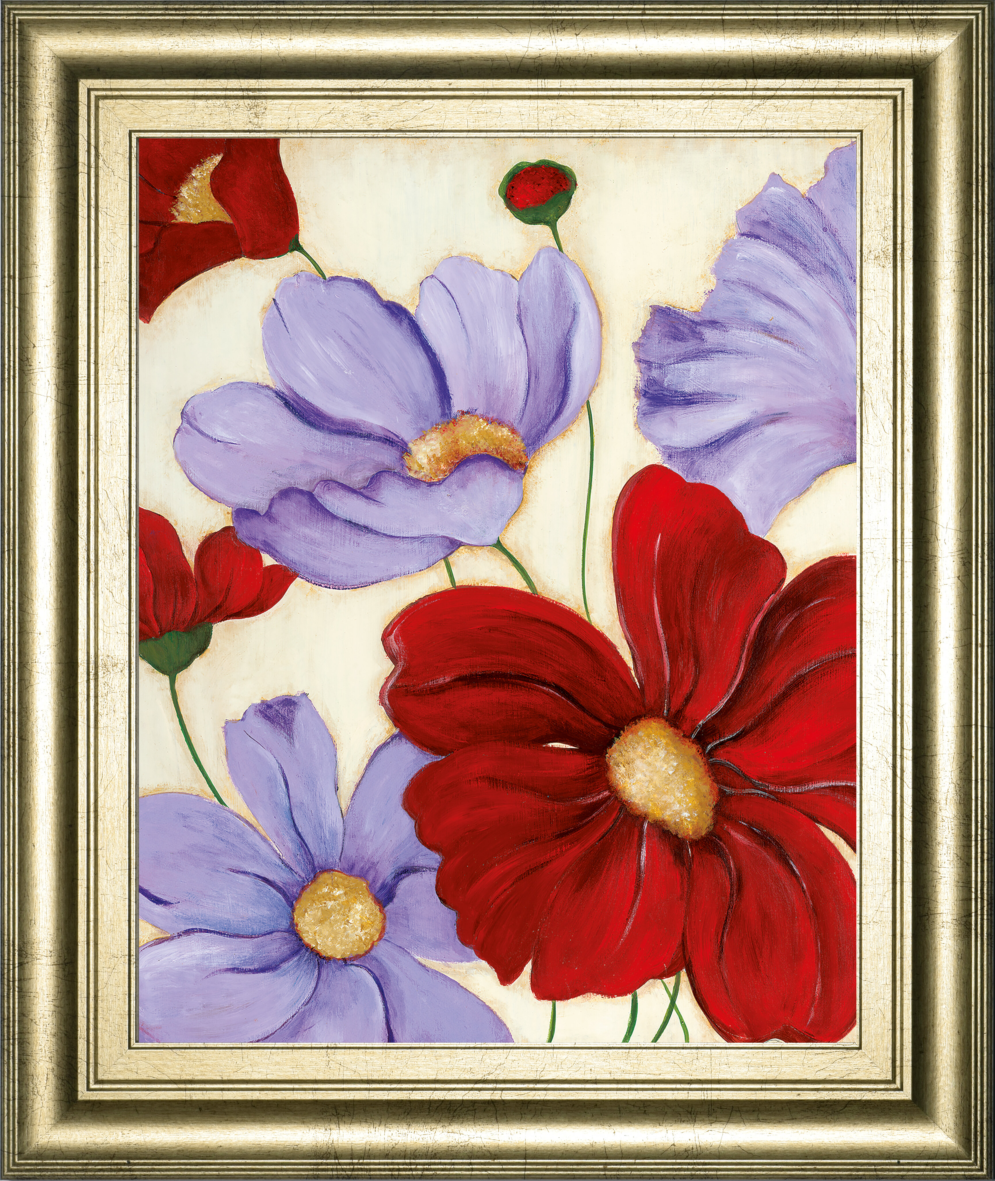 Winston Porter Lavender And Red Ii Framed Acrylic Painting Print Wayfair