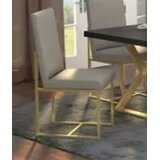 Hartranft Leather Upholstered Side Chair in Gold/Gray by Everly Quinn