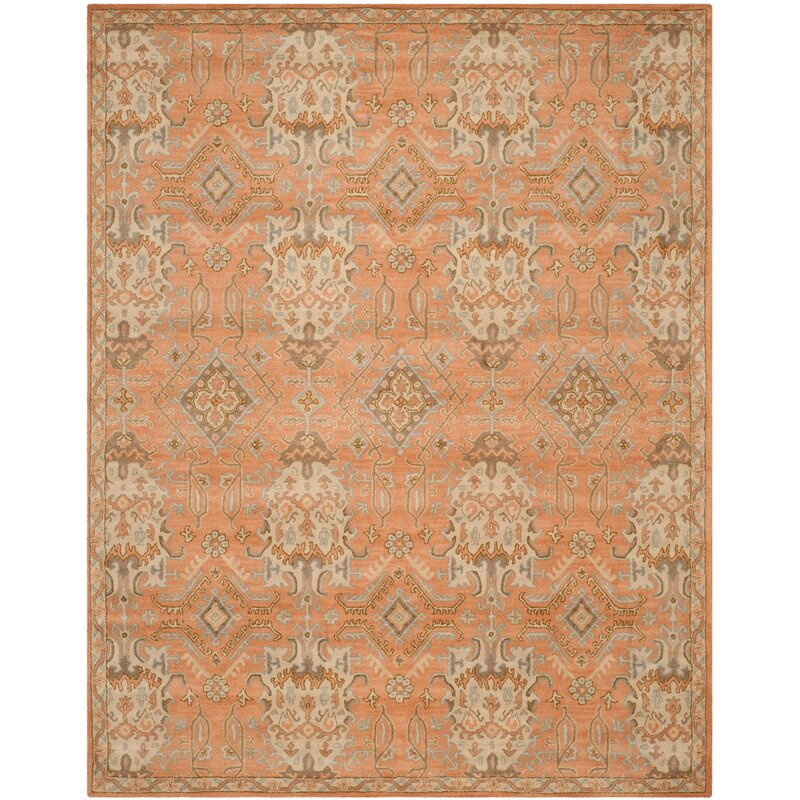 Wyndham Hand-Tufted Wool Terracotta/Olive Green/Light Blue/Cream Area Rug