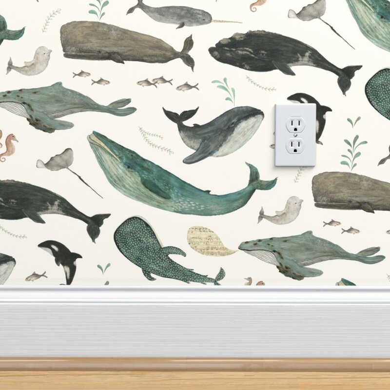 Peel And Stick Removable Wallpaper Watercolor Whales Sperm Ocean Nautical Kids
