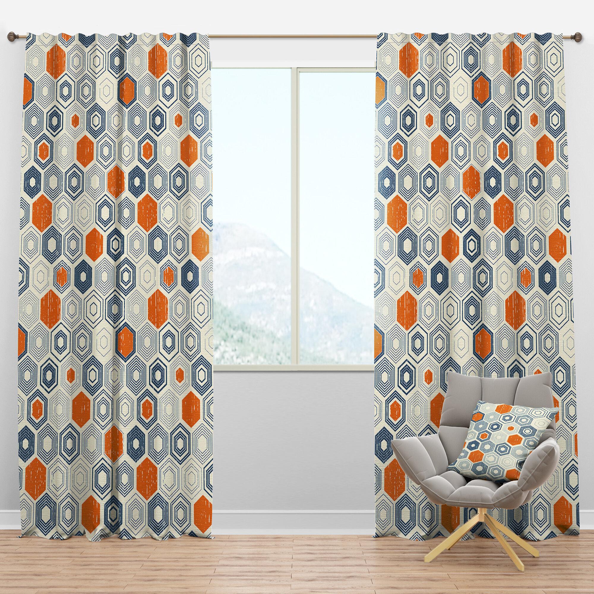 Designart Mid Century Hexagon Ix Geometric Semi Sheer Thermal Rod Pocket Single Curtain Panel Wayfair
