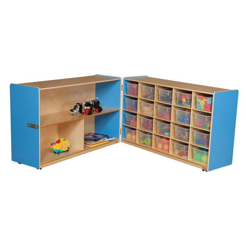 Half and Half Folding 20 Compartment Shelving Unit with Trays