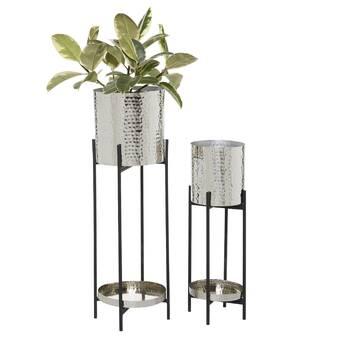 Gracie Oaks Wyat 2 Piece Metal Pot Planter Set Reviews Wayfair
