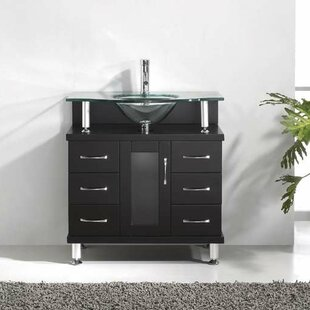 Runge 32 Single Bathroom Vanity Set with Tempered Glass Top by Latitude Run