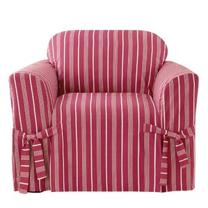 Grain Sack Stripe Box Cushion Armchair..