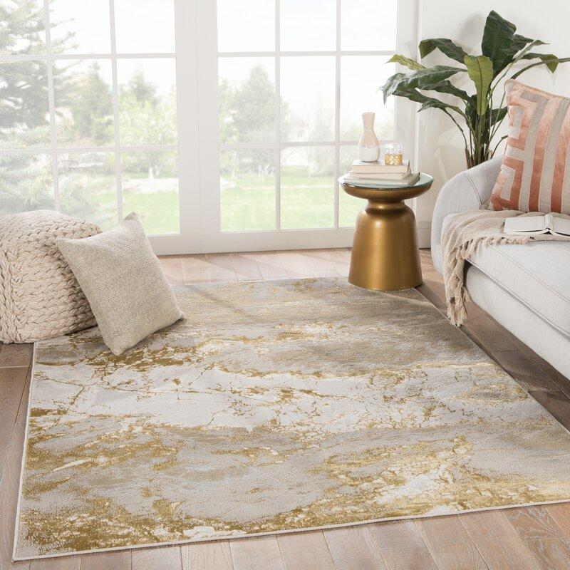 Williston Forge Maslynn Abstract Grey Gold Area Rug Reviews Wayfair Ca