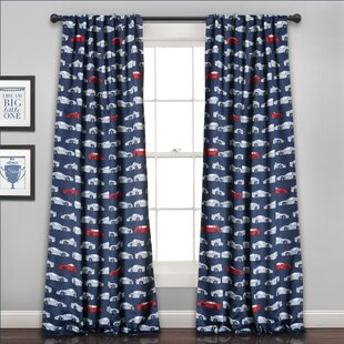 Trace Graphic Print Text Room Darkening Rod Pocket Curtain Panels Set Of 2