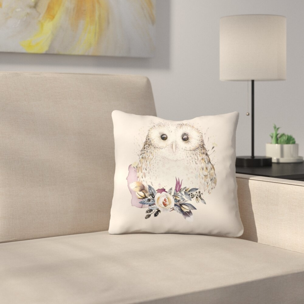 East Urban Home Boho Flower And Owl Throw Pillow Reviews Wayfair
