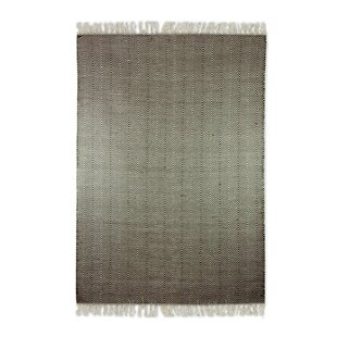 Top Reviews Blough Zigzag Dhurrie Hand-Woven Wool Brown/White Area Rug By Bungalow Rose