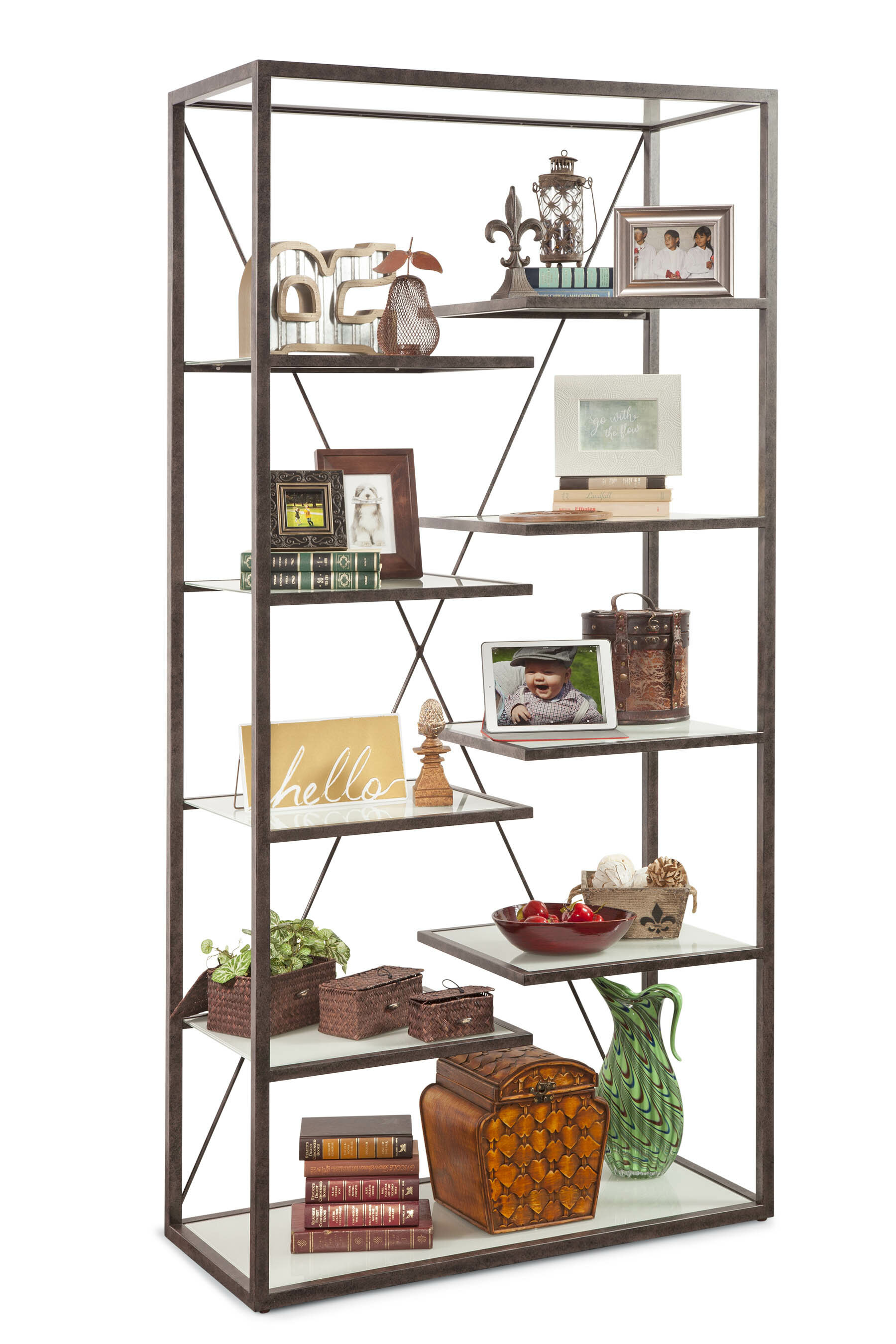 17 Stories Takahito Industrial Etagere Bookcase Wayfair
