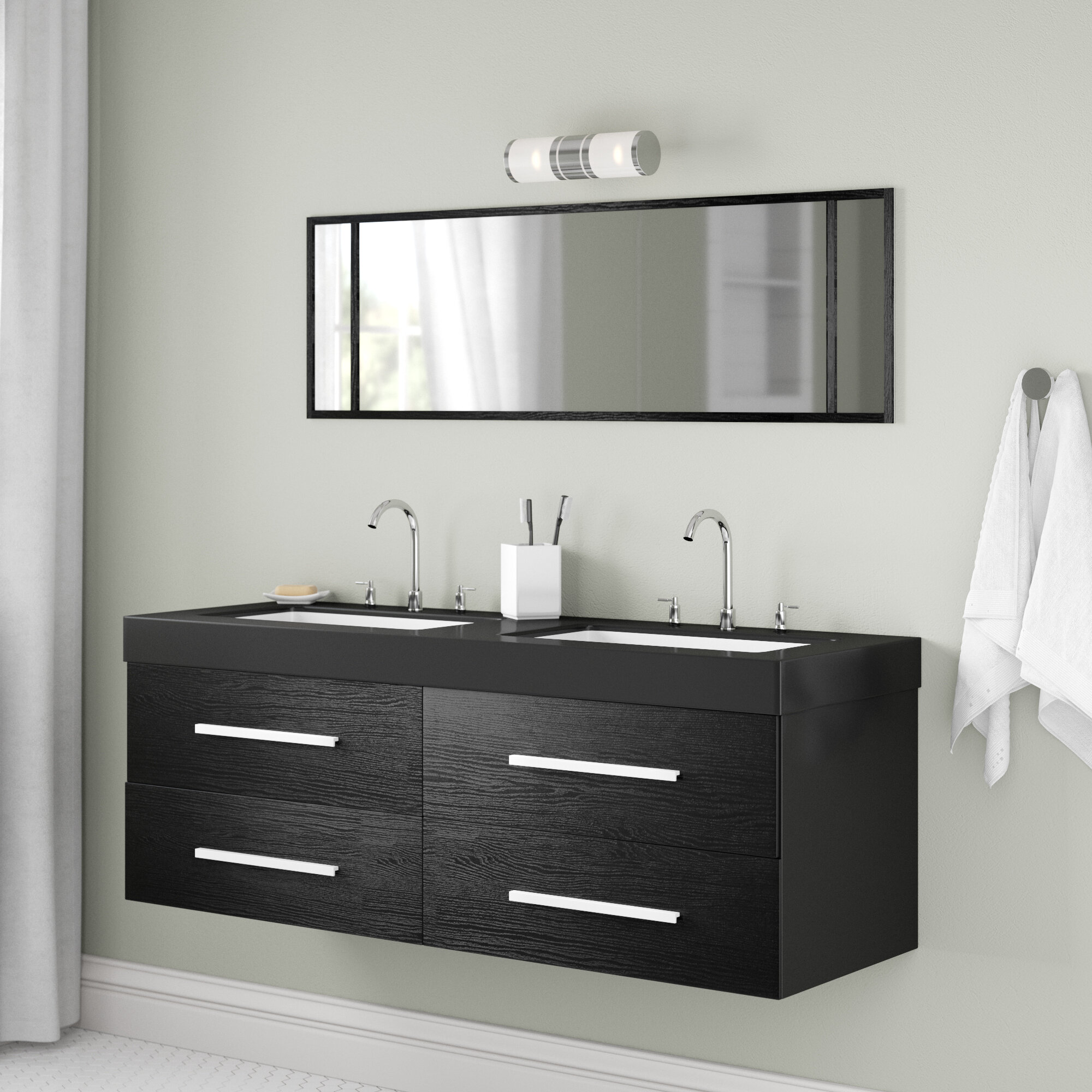 on sale edc4f b881d 140cm Wall Mounted Double Sink Vanity Unit