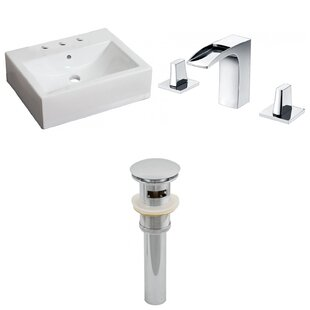 Purchase Ceramic 17 Wall Mount Bathroom Sink with Faucet and Overflow ByAmerican Imaginations